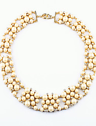 Women's Strands Necklaces Round Chrome Unique Design White Jewelry For Gift Daily 1pc