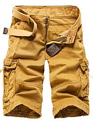 Homme Vintage simple Street Chic Taille Normale Micro-élastique Short Pantalon,Droite Couleur Pleine