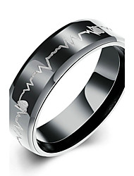 Concise Black Color Titanium Steel Eternity Electrocardiogram Band Wedding Ring Jewellery for Women Accessiories