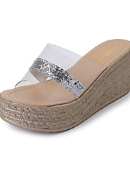 Women's Slippers & Flip-Flops Spring Summer Club Shoes Comfort Flange Fish Mouth Scotch Tape Dress Casual Wedge Heel Sequin