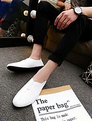 Herren-Flache Schuhe-Outddor Lässig-LederKomfort paar Schuhe-Weiß Schwarz Orange
