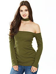 Women's Off The Shoulder|Choker Choker Off Shoulder Long Sleeve Top