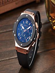 Homens Relógio de Moda Quartzo Silicone Banda Casual Preta