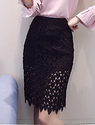 Damen Hohe Hüfthöhe Über dem Knie Röcke Bodycon,Spitze Ausgeschnitten einfarbig