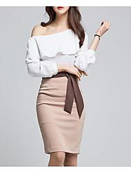 Damen einfarbig Einfach Lässig/Alltäglich Shirt Rock Anzüge,Schulterfrei Herbst Baumwolle