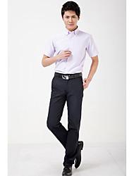 Masculino Camisa Social Casual Trabalho Festa/Coquetel Simples Todas as Estações Verão,Listrado Algodão Modal PoliésterColarinho de