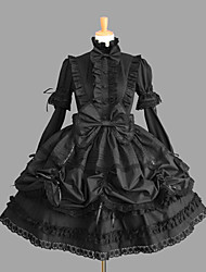 One-Piece/Dress Gothic Lolita Sexy Lace-up Cosplay Lolita Dress Solid Bowknot Cap Long Sleeve Short / Mini Legguards For Cotton