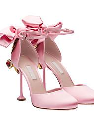 Talons féminins printemps confort cuir partie&Couleur de l'écran décontracté du soir en rougeur rose