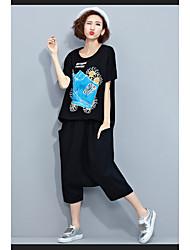Damen Druck Einfach Lässig/Alltäglich T-shirt,Rundhalsausschnitt Kurzarm Baumwolle Polyester
