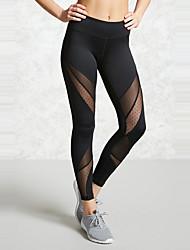 Feminino Simples Moda de Rua Activo Cintura Alta Chinos Calças,Skinny Color Block,Com Transparência Patchwork