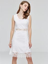 TS Women's Sexy Casual Lace Cute Inelastic Sleeveless Above Knee Dress (Chiffon/Lace)