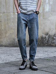Men's Low Rise Inelastic Jeans Pants,Loose Solid