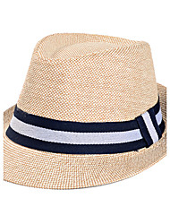 Men's Summer Middle-aged Stripe Jazz Cap Sunscreen Linen Old Man Straw Hat