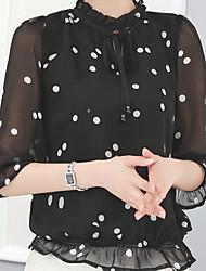 Damen Solide Einfach Lässig/Alltäglich T-shirt,Ständer ½ Länge Ärmel Polyester