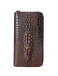 Men's fashion leather zipper wallet long crocodile leather handbag trend