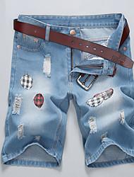 Homme Taille Normale non élastique Jeans Short Pantalon,Droite Imprimé