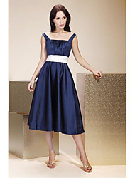 LAN TING BRIDE Tea-length Satin Bridesmaid Dress - A-line / Princess Square / Straps Plus Size / Petite