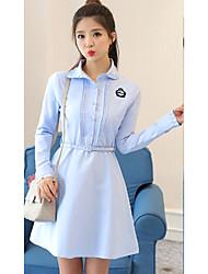 Signe 2017 printemps nouvel institut coréen de robe de dentelle de vent mince sauvage un mot denim robe