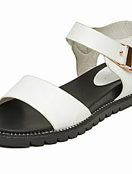 Women's Sandals Gladiator Nappa Leather Summer Outdoor Walking Gladiator Buckle Creepers White Black Under 1in