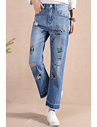Women's Low Rise Micro-elastic Jeans Pants,Bootcut Embroidered Print