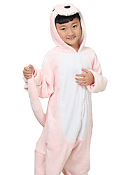 Kigurumi Pajamas Anime Leotard/Onesie Festival/Holiday Animal Sleepwear Halloween Pink Print Animal Print Flannel For Kid