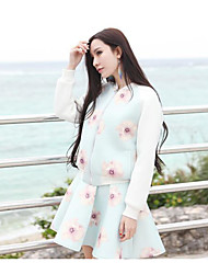 Women's Casual/Daily Simple Spring Blouse Skirt Suits,Solid Floral Round Neck Long Sleeve Cotton