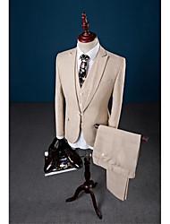 Beige color sólido un botón de cierre de cuello de lino de tres piezas a medida adaptarse traje de fiesta / noche