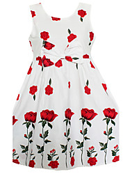 Girls Dress Red Rose Flower Print Bow Belt Party Pageant Casual Children Clothes