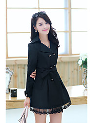 Women's Casual/Daily Simple Winter Trench Coat,Solid Stand Long Sleeve Regular Cotton