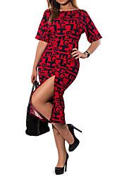 Ample Robe Femme Sortie Soirée / Cocktail Grandes Tailles Vintage,Lettre Col Arrondi Au dessus du genou ½ Manches Polyester Spandex Eté