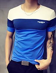 Menn Fritid / Plusstørrelse Lapper T-skjorte,Bomull Kortermet-Blå / Oransje / Grå