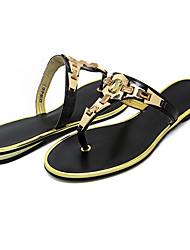 Women's Slippers & Flip-Flops Spring Summer T-Strap PU Dress Casual Flat Heel Sparkling Glitter Buckle Black