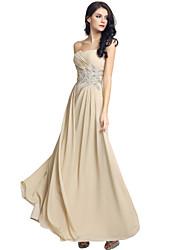 Gaine / colonne sweetheart longueur au sol longueur en mousseline de soie robe formelle avec perlage