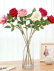 3 Ramo Isopor Plástico Couro Ecológico Fibra Toque real Rosas Hortênsia Flor de Mesa Flores artificiais