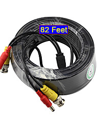 YanSe® 25 Meters 82 Feet BNC Video and Power 12V DC Cable for Security Systems Monitoring