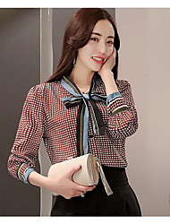 Women's Going out Vintage Spring Blouse,Plaid Check V Neck Long Sleeve Rayon Thin