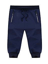 Masculino Lazer Clássico Casual / desportivo Simples Cintura Baixa Micro-Elástico Calças Esportivas Shorts Calças,Delgado Harém Cor Única