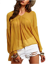 Women's Casual/Daily Simple Spring Summer Blouse,Solid V Neck Long Sleeve Polyester Medium