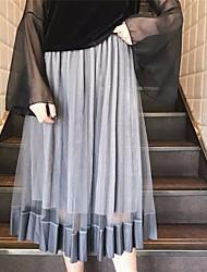 Damen Hohe Hüfthöhe Lässig/Alltäglich Midi Röcke Schaukel einfarbig Sommer