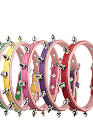 Collar Waterproof Adjustable/Retractable Safety Solid Genuine Leather PU Leather Blushing Pink Blue Green Red Coffee