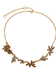 Women's Strands Necklaces Leaf Chrome Unique Design Gold Jewelry For Gift Daily 1pc