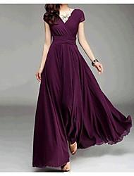Aliexpress explosión modelos v-cuello de manga corta verano bohemio falda vestido de cintura