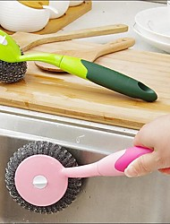 1Pcs  Hand Protection Brush Away From Oily Water Long Handle Brush Pan Brush Dishes Brush With Steel Wire Ball Tpr Hand Anti-Skiding Random  Color