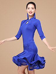 Latin Dance Dresses Women's Performance Polyester Milk Fiber Ruffles 2 Pieces 3/4 Length Sleeve Natural Dress Shorts