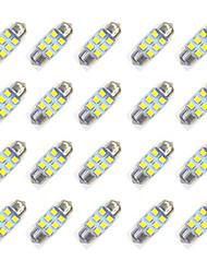 20pcs 31mm 6 * 2835 smd вело свет электрической лампочки автомобиля dc12v