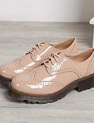 Feminino-Oxfords-sapatos Bullock-Salto Baixo--Couro Ecológico-Casual