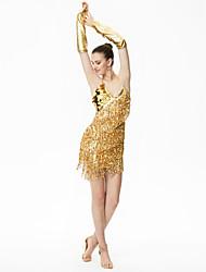 Dança Latina Vestidos Mulheres Actuação Náilon Chinês Lantejoulas 3 Peças Sem Mangas Alto Vestido Luvas
