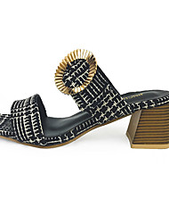 Women's Sandals Summer Comfort PU Casual Low Heel Beading Black White Walking