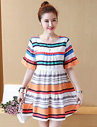 Maternity Summer Wear Fashionable Sweet Fashion Lactation Chiffon Skirt Colorful Stripe With Short Sleeves  Leisure Pregnant Women Dress