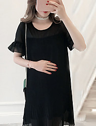 Maternity Summer Wear Fashionable Sweet Fashion  National Wind Bud Silk Chiffon Pleated  Leisure Pregnant Women Dress